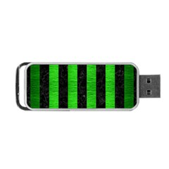 Stripes1 Black Marble & Green Brushed Metal Portable Usb Flash (one Side)