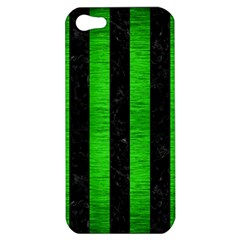 Stripes1 Black Marble & Green Brushed Metal Apple Iphone 5 Hardshell Case
