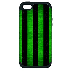 Stripes1 Black Marble & Green Brushed Metal Apple Iphone 5 Hardshell Case (pc+silicone)