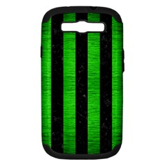 Stripes1 Black Marble & Green Brushed Metal Samsung Galaxy S Iii Hardshell Case (pc+silicone)