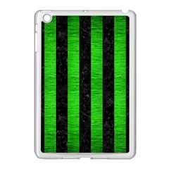 Stripes1 Black Marble & Green Brushed Metal Apple Ipad Mini Case (white)