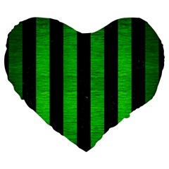 Stripes1 Black Marble & Green Brushed Metal Large 19  Premium Heart Shape Cushions