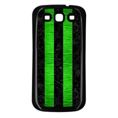 Stripes1 Black Marble & Green Brushed Metal Samsung Galaxy S3 Back Case (black)