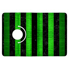 Stripes1 Black Marble & Green Brushed Metal Kindle Fire Hdx Flip 360 Case