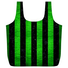 Stripes1 Black Marble & Green Brushed Metal Full Print Recycle Bags (l)