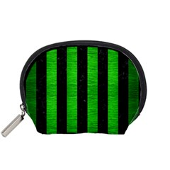 Stripes1 Black Marble & Green Brushed Metal Accessory Pouches (small)