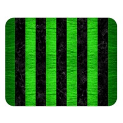 Stripes1 Black Marble & Green Brushed Metal Double Sided Flano Blanket (large)