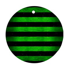 Stripes2 Black Marble & Green Brushed Metal Ornament (round)