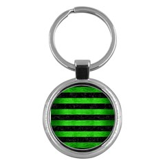 Stripes2 Black Marble & Green Brushed Metal Key Chains (round)