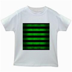 Stripes2 Black Marble & Green Brushed Metal Kids White T Shirts