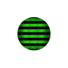 Stripes2 Black Marble & Green Brushed Metal Golf Ball Marker (10 Pack)