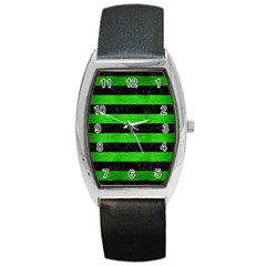 Stripes2 Black Marble & Green Brushed Metal Barrel Style Metal Watch