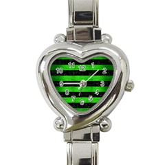 Stripes2 Black Marble & Green Brushed Metal Heart Italian Charm Watch