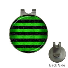 Stripes2 Black Marble & Green Brushed Metal Hat Clips With Golf Markers
