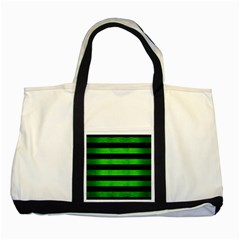 Stripes2 Black Marble & Green Brushed Metal Two Tone Tote Bag