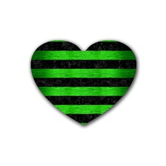 Stripes2 Black Marble & Green Brushed Metal Rubber Coaster (heart)