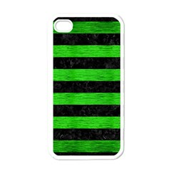 Stripes2 Black Marble & Green Brushed Metal Apple Iphone 4 Case (white)
