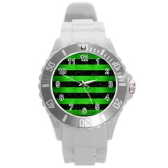 Stripes2 Black Marble & Green Brushed Metal Round Plastic Sport Watch (l)