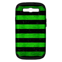 Stripes2 Black Marble & Green Brushed Metal Samsung Galaxy S Iii Hardshell Case (pc+silicone)