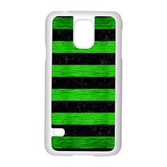 Stripes2 Black Marble & Green Brushed Metal Samsung Galaxy S5 Case (white)