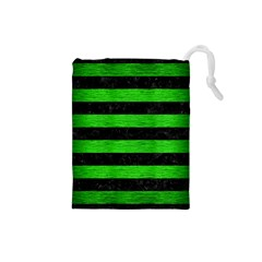 Stripes2 Black Marble & Green Brushed Metal Drawstring Pouches (small)