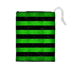 Stripes2 Black Marble & Green Brushed Metal Drawstring Pouches (large)