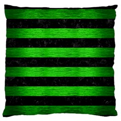 Stripes2 Black Marble & Green Brushed Metal Standard Flano Cushion Case (two Sides)