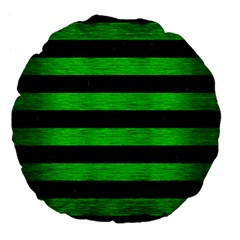 Stripes2 Black Marble & Green Brushed Metal Large 18  Premium Flano Round Cushions