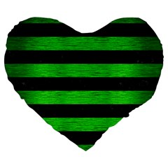 Stripes2 Black Marble & Green Brushed Metal Large 19  Premium Flano Heart Shape Cushions
