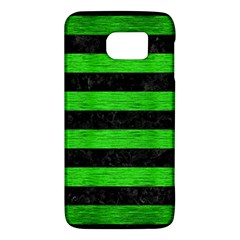 Stripes2 Black Marble & Green Brushed Metal Galaxy S6