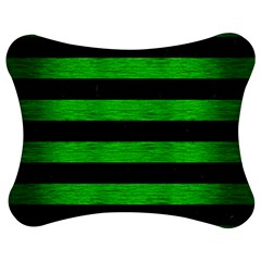 Stripes2 Black Marble & Green Brushed Metal Jigsaw Puzzle Photo Stand (bow)