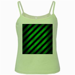 Stripes3 Black Marble & Green Brushed Metal Green Spaghetti Tank