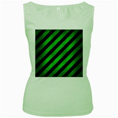 Stripes3 Black Marble & Green Brushed Metal Women s Green Tank Top