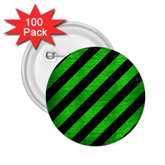 Stripes3 Black Marble & Green Brushed Metal 2 25  Buttons (100 Pack)