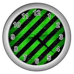 Stripes3 Black Marble & Green Brushed Metal Wall Clocks (silver)
