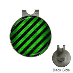 Stripes3 Black Marble & Green Brushed Metal Hat Clips With Golf Markers