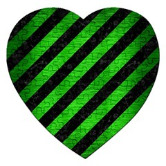 Stripes3 Black Marble & Green Brushed Metal Jigsaw Puzzle (heart)