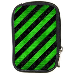 Stripes3 Black Marble & Green Brushed Metal Compact Camera Cases