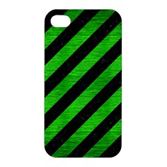 Stripes3 Black Marble & Green Brushed Metal Apple Iphone 4/4s Hardshell Case