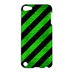 Stripes3 Black Marble & Green Brushed Metal Apple Ipod Touch 5 Hardshell Case