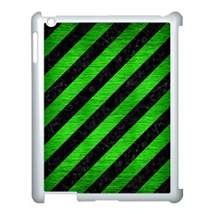 Stripes3 Black Marble & Green Brushed Metal Apple Ipad 3/4 Case (white)