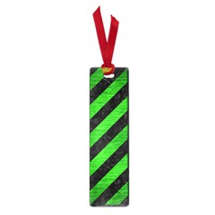 Stripes3 Black Marble & Green Brushed Metal Small Book Marks