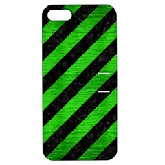 Stripes3 Black Marble & Green Brushed Metal Apple Iphone 5 Hardshell Case With Stand