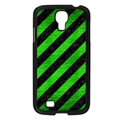 Stripes3 Black Marble & Green Brushed Metal Samsung Galaxy S4 I9500/ I9505 Case (black)