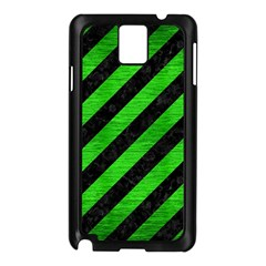 Stripes3 Black Marble & Green Brushed Metal Samsung Galaxy Note 3 N9005 Case (black)