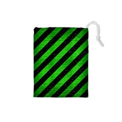 Stripes3 Black Marble & Green Brushed Metal Drawstring Pouches (small)
