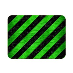 Stripes3 Black Marble & Green Brushed Metal Double Sided Flano Blanket (mini)