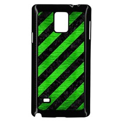 Stripes3 Black Marble & Green Brushed Metal Samsung Galaxy Note 4 Case (black)