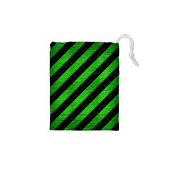Stripes3 Black Marble & Green Brushed Metal Drawstring Pouches (xs)