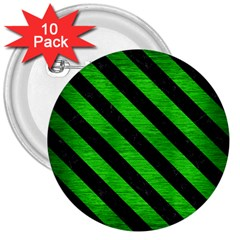 Stripes3 Black Marble & Green Brushed Metal (r) 3  Buttons (10 Pack)
